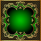 Green background frame with gold(en) pattern m net Stock Photo
