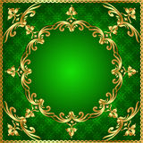 Green  background a frame with a gold ornament Stock Photo