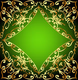 Green background frame with gold ornamentation Royalty Free Stock Images
