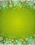 Green background with  frame of snowflakes and stars,  vector Royalty Free Stock Photos