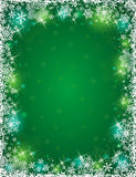 Green background with frame of snowflakes, vector Royalty Free Stock Images
