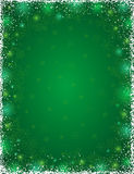 Green background with  frame of snowflakes, vector Royalty Free Stock Photos
