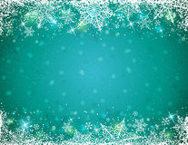 Green background with  frame of snowflakes,  vector Stock Image