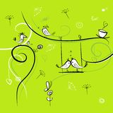 Green background with funny birds for your design Stock Photos