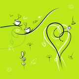 Green background with funny birds for your design Royalty Free Stock Photography