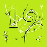 Green background with funny birds for your design Stock Image