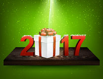 Green 2017 background with gift box. Green 2017 background with gift box on wooden shelf. Vector illustration Royalty Free Stock Photos