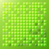 Positive bright background with green squares. Glass and light. Green background with glass squares. A party. Light and shine. Night party. Holiday background Vector Illustration