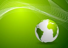 Green background with globe and lines Stock Photos