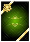 Green background with gold bow Royalty Free Stock Photo
