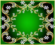 Green background with gold(en) pattern and pearl Stock Photos