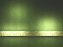 Green background with gold ribbon. Royalty Free Stock Images