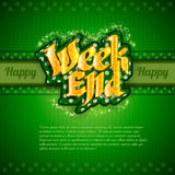 Green background with gold weekend Royalty Free Stock Photos