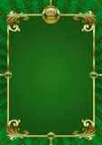 Green background with golden luxury frame Stock Photos