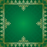 Green vector background with golden ornament Royalty Free Stock Photos
