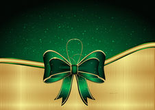 Green background with golden ribbon Stock Photo