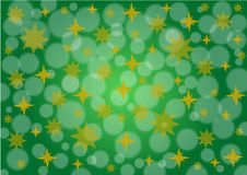 Green background with golden stars and snow Royalty Free Stock Photo