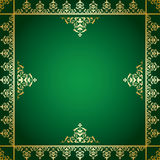 Green vector background with golden victorian ornament Stock Images