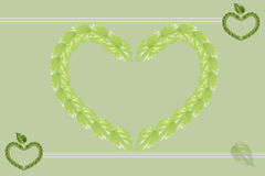 Green background. Heart shape compose of green leafs. Note paper vector illustration