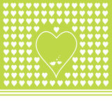 Green background with heart shapes Royalty Free Stock Images