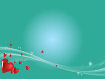 Green background with hearts Royalty Free Stock Photography
