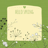 Green background with hello spring and copy space Stock Photos