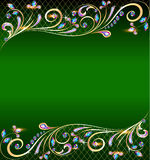 Green background with jewels, golden ornament and  Stock Image