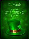 Green background with leprechauns hat Stock Photos