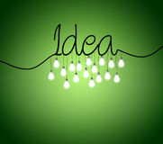 Green background with lightbulbs Royalty Free Stock Images