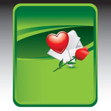 Green background with love note and rose. Love letter and rose green backdrop Royalty Free Stock Photo