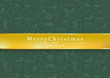 Green background merry christmas and happy new year. Eps10 royalty free illustration