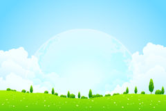 Green Background with Moon in the Sky Royalty Free Stock Photo