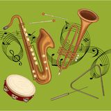 Green background with notes and musical instruments. stock illustration