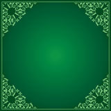 Green vector background with ornament in corners Stock Photography