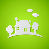 Green background with paper house Royalty Free Stock Photography