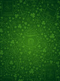 Green  background for Patricks day with ber mug, hat, horseshoe Stock Photos