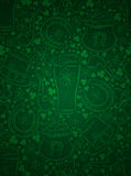 Green  background for Patricks day with ber mug, horseshoe, hat Stock Photos