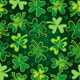 Green background for Patricks Day with clover Stock Photo