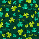 Green  background for Patricks day with shamrock, vector Royalty Free Stock Photos
