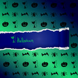 Green background with pattern of Halloween characters Stock Photo