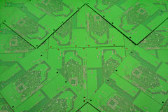 Green background of printed circuit boards Stock Image
