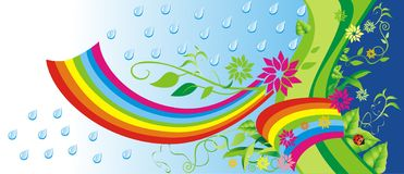 Green background with rainbow. Stock Photos