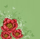 Green background with red flowers Royalty Free Stock Photo