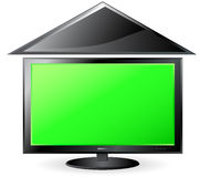 Green background with screen and roof Royalty Free Stock Images