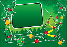 Green background with seasonal elements. Green background with seasonal design elements Stock Image