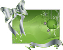 Green Background with Silver Ribbon, Toys, Bowtie Stock Images