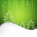 Green background with snowflakes. Firs over green background with white snowflakes. Vector illustration Stock Photography