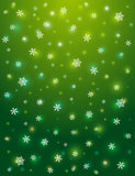 Green background with snowflakes, vector Royalty Free Stock Photography