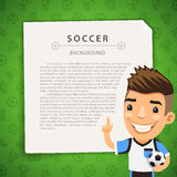 Green Background with Soccer Player Royalty Free Stock Photo