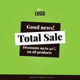 Total Sale square vector banner template. Green background square shape total sale advertising banner. Best for social media, web sites and press. For any shop Stock Photography